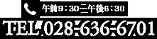 [午前9:30~午後6:30]TEL 028-636-6701