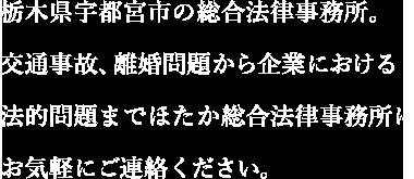 栃木県宇都宮市の総合法律事務所。交通事故、離婚問題から企業における法的問題までほたか綜合法律事務所にお気軽にご連絡下さい。